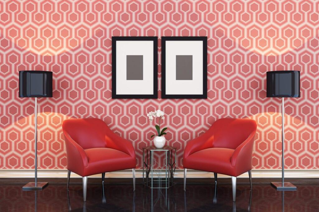 geometric walls red