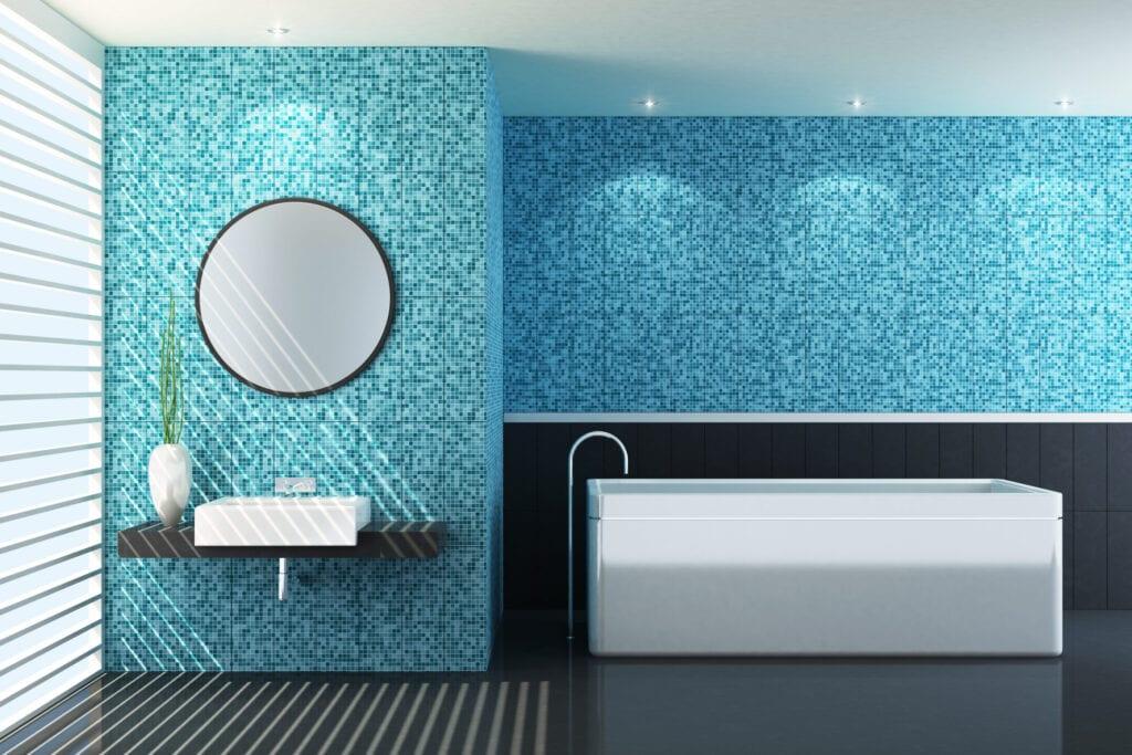bathroom blue tile