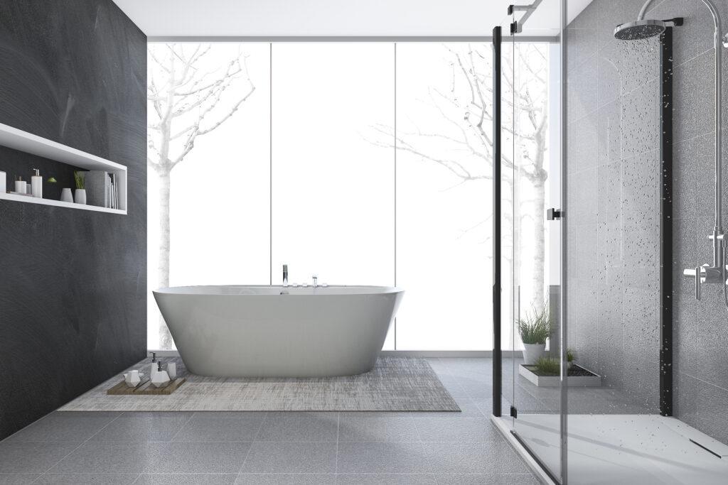 3d rendering modern design bathroom in winter
