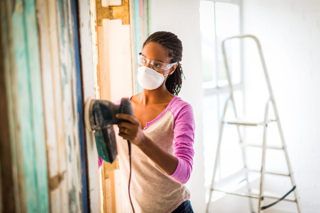 woman remodeling house