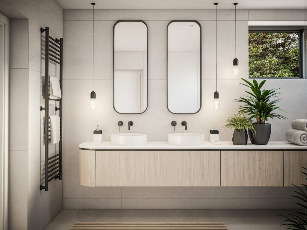 Computer generated image of bathroom. Architectural Visualization. 3D rendering.
