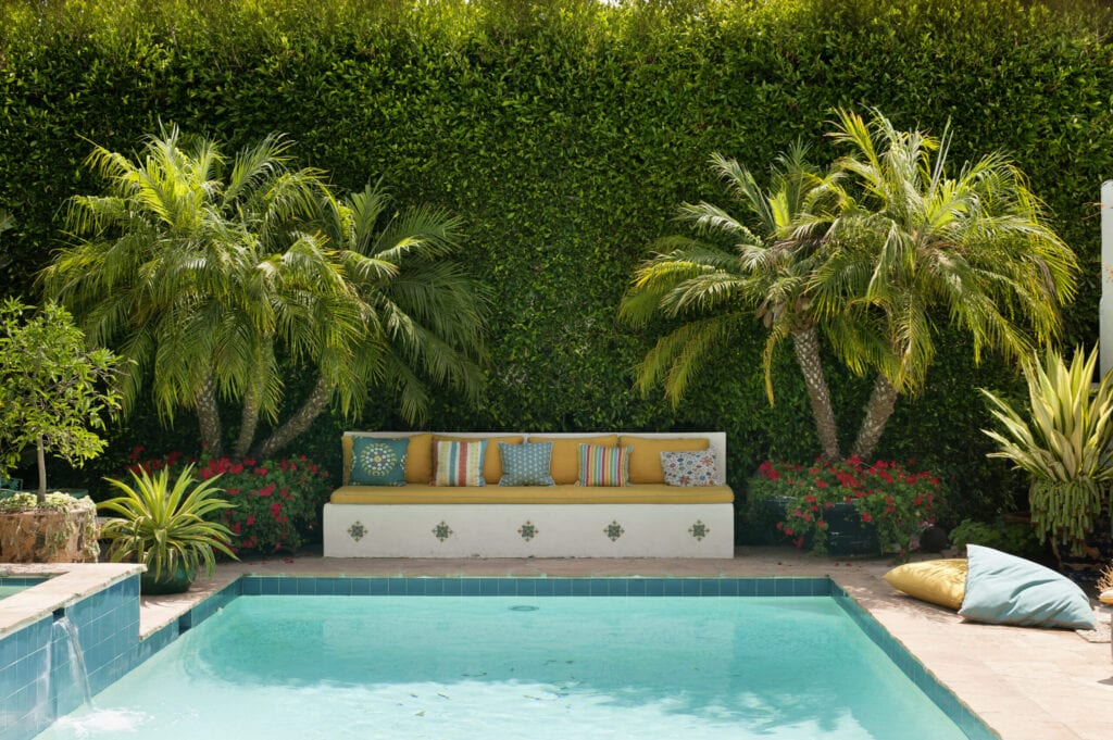 An outdoor pool in a suburban Californian garden with palm trees and cushions