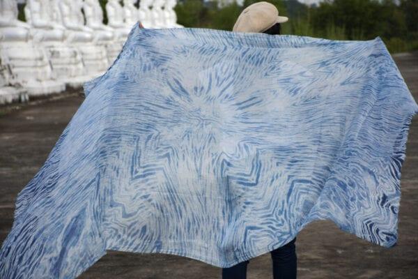 Silk fabric tie dye indigo Background