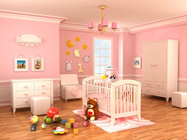 Nursery room decorated with white elegant furnitures. Artworks on the walls are my own illustrations