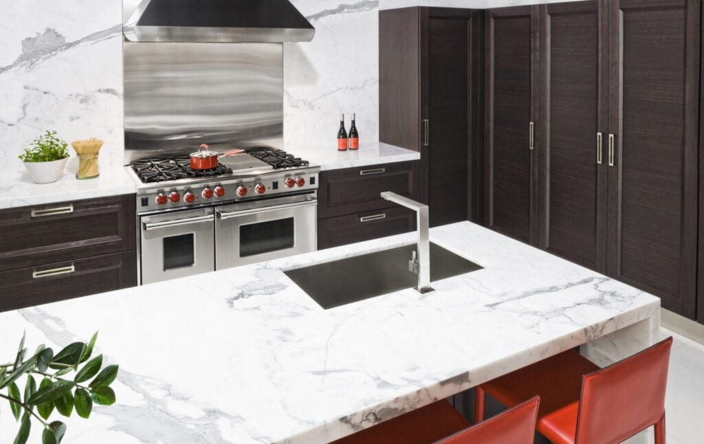 Marble countertop in modern kitchen