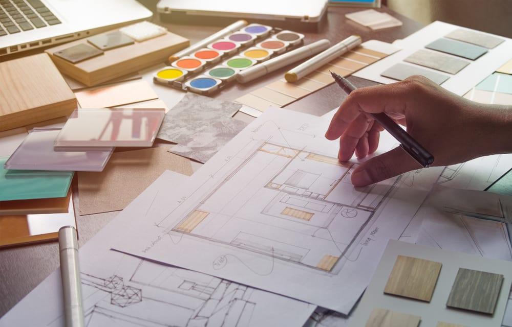 Interior designer's desk with color samples