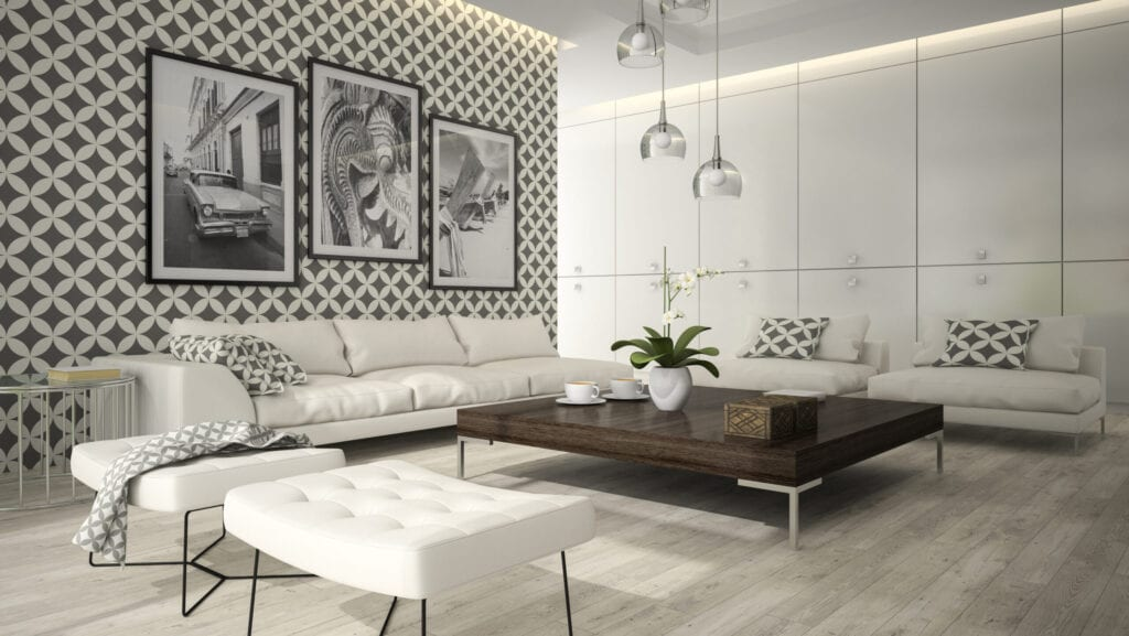 diagonal grey and white wallpaper living room
