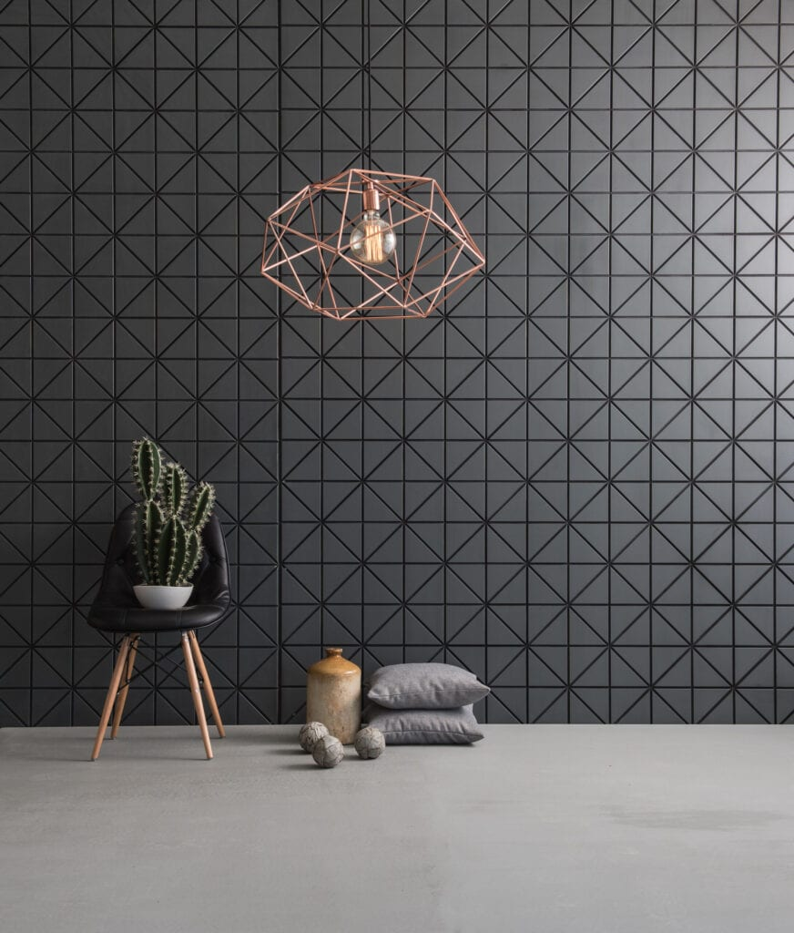 black wallpaper with geometric shape