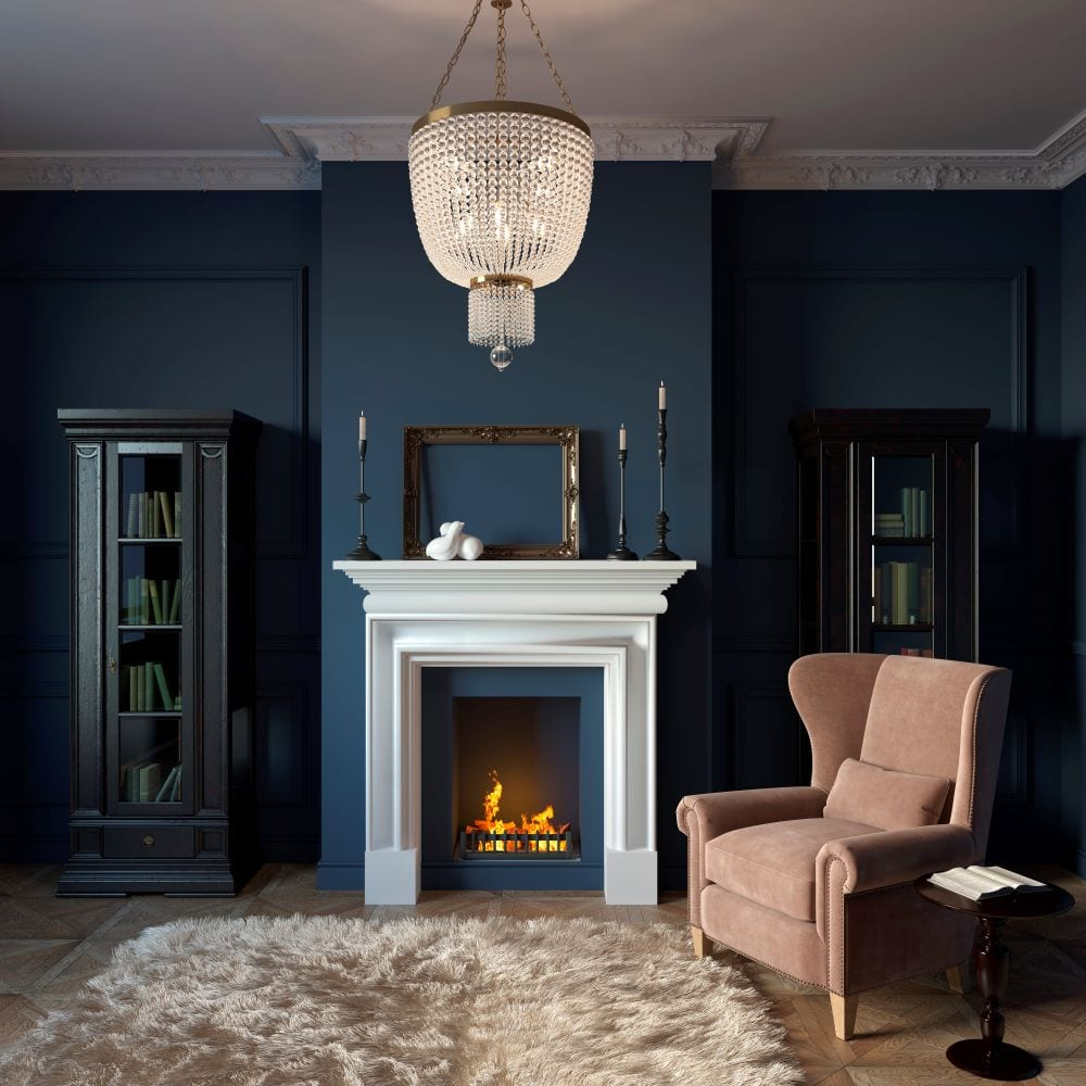 Modern living room with navy walls and fireplace