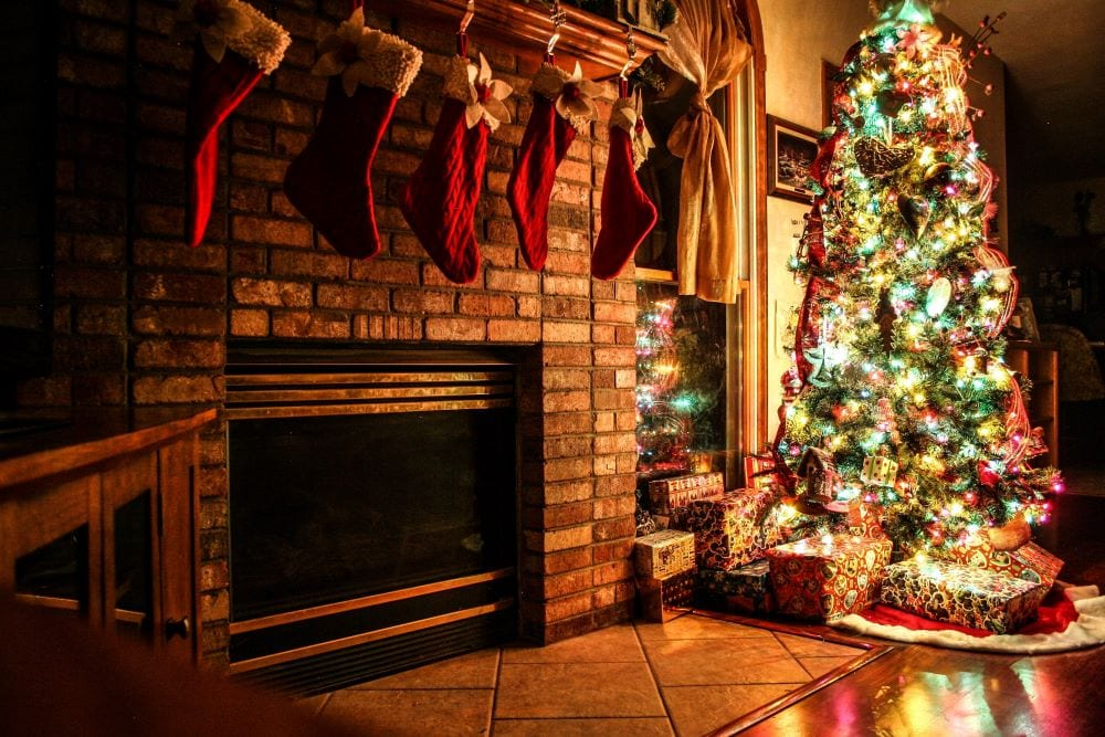 Fireplace and mantel decorated for Christmas