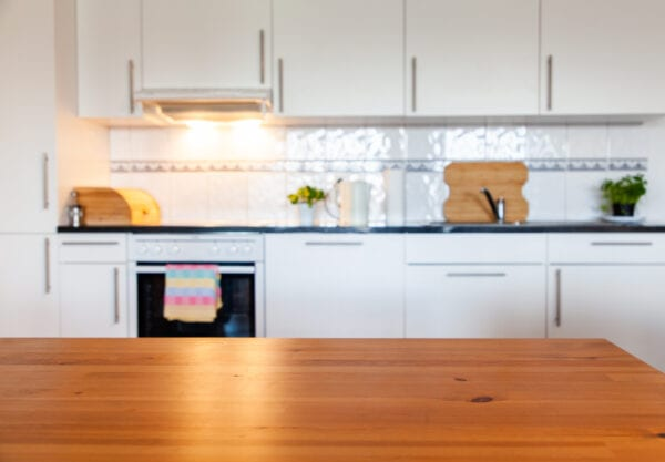 blurred kitchen interior with desk space
