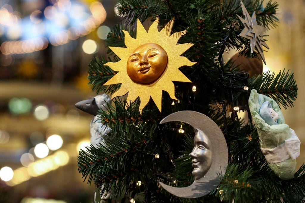 Moon and sun ornaments