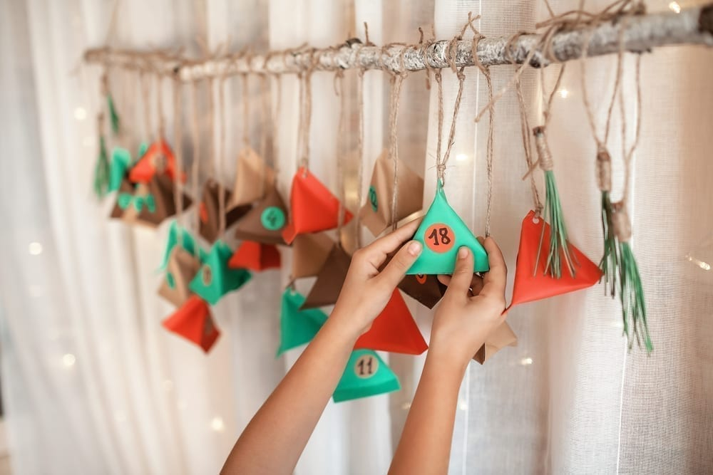 Hanging geometric Advent calendar
