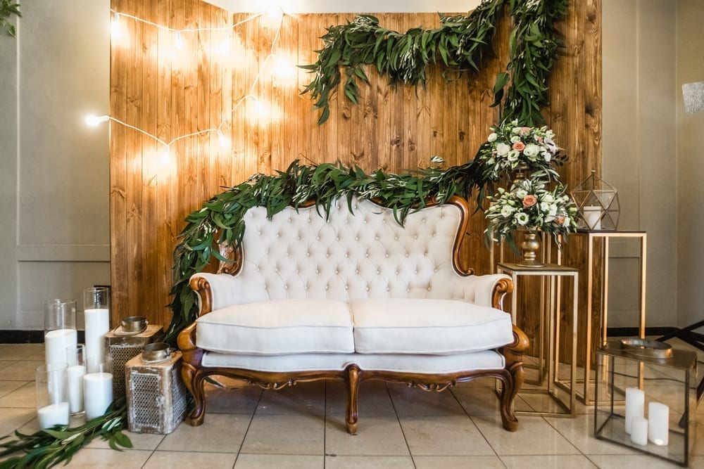 Garland over a couch