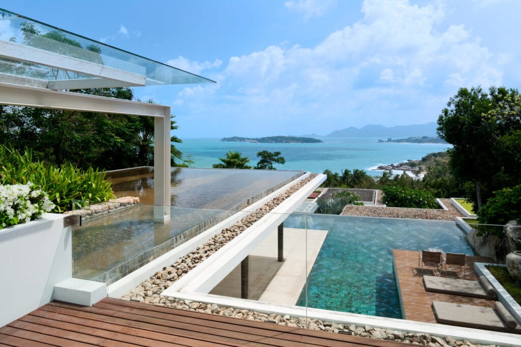 View from island villa and pool
