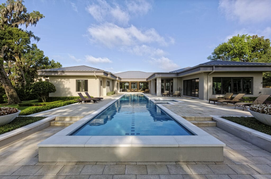 Estate house with single lane raised swimming pool