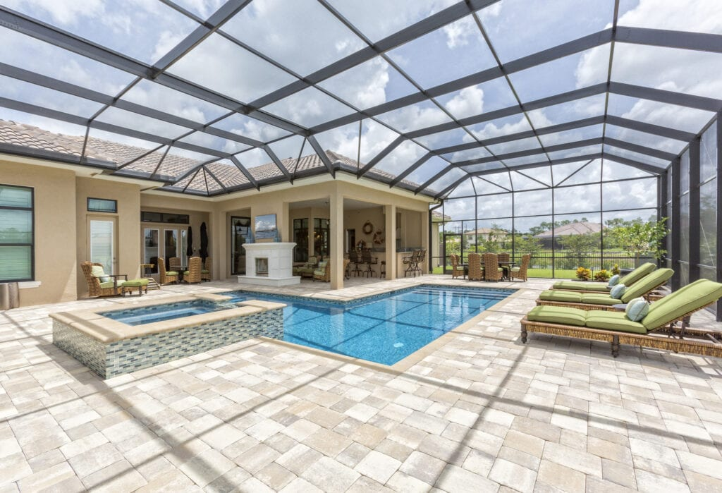 Outdoor bar and swimming pool with glass roof