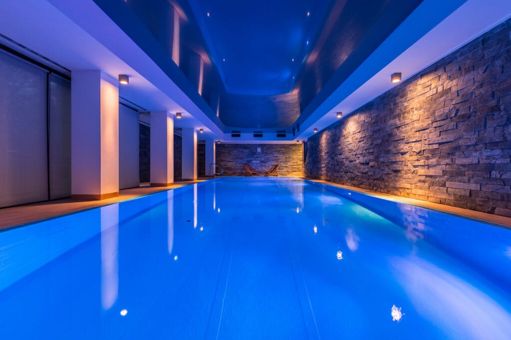 Indoor swimming pool with decorative lights