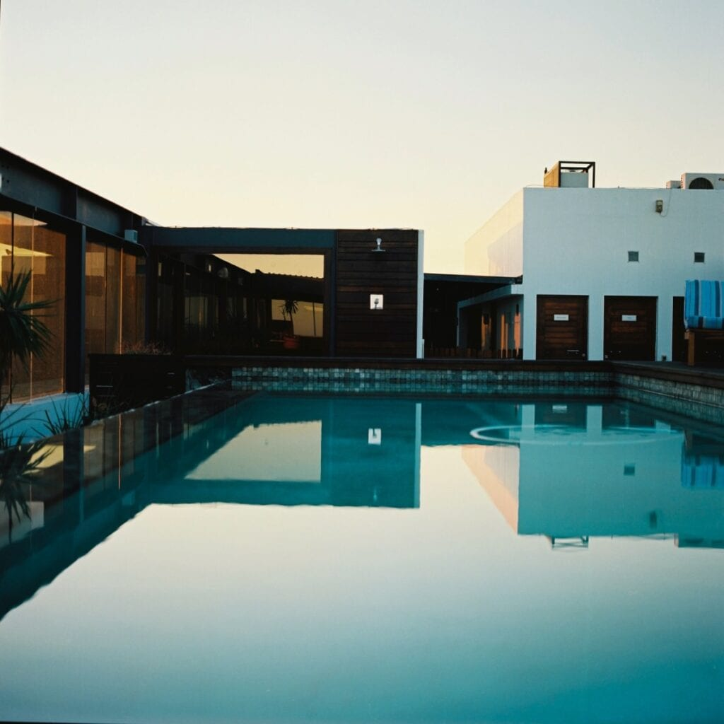 Modern architecture with center pool