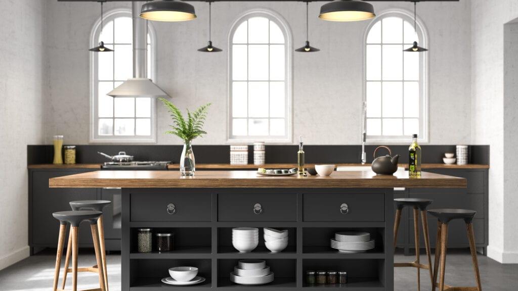 industrial-inspired kitchen
