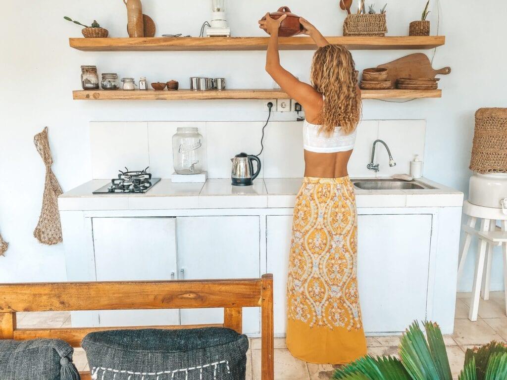 boho kitchen open shelf concept