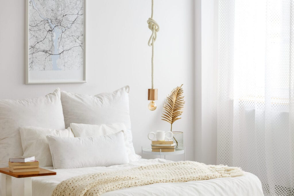 gold accent decor in bedroom