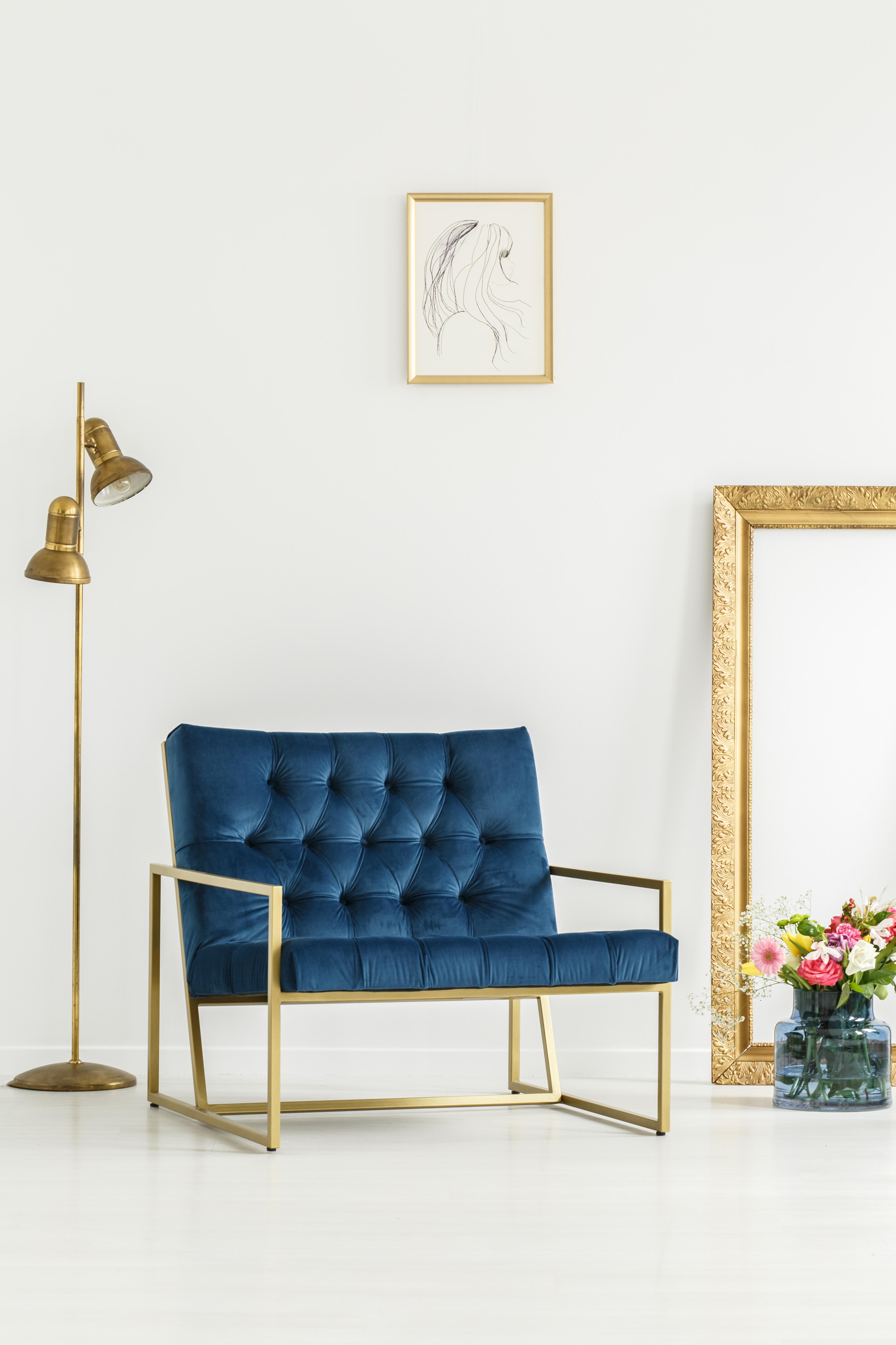 A luxurious, navy blue armchair