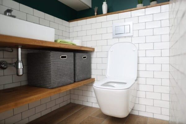 Toilet bowl, sink, shelves with boxes for storing things in toilet. Plumbing installation, repair and cleaning concept.
