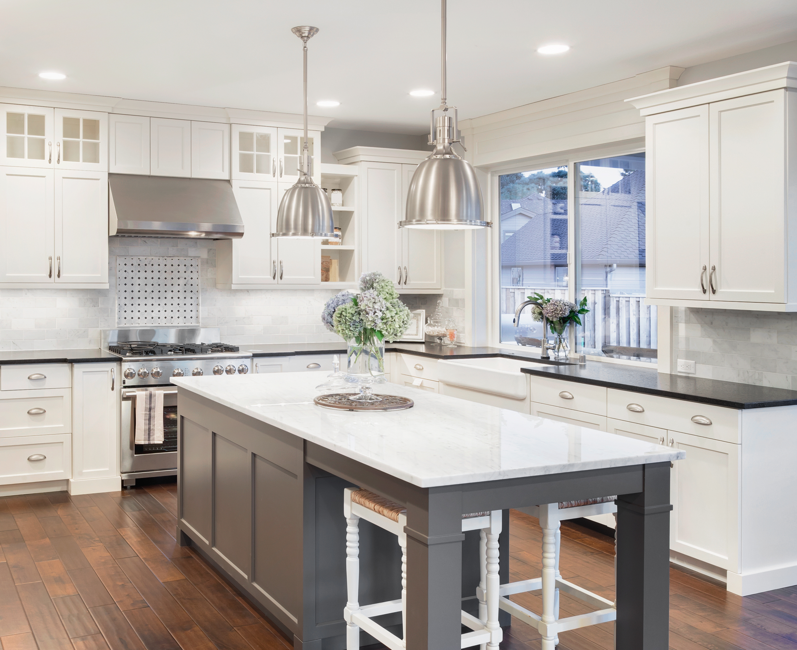 beautiful kitchen in luxury home with island