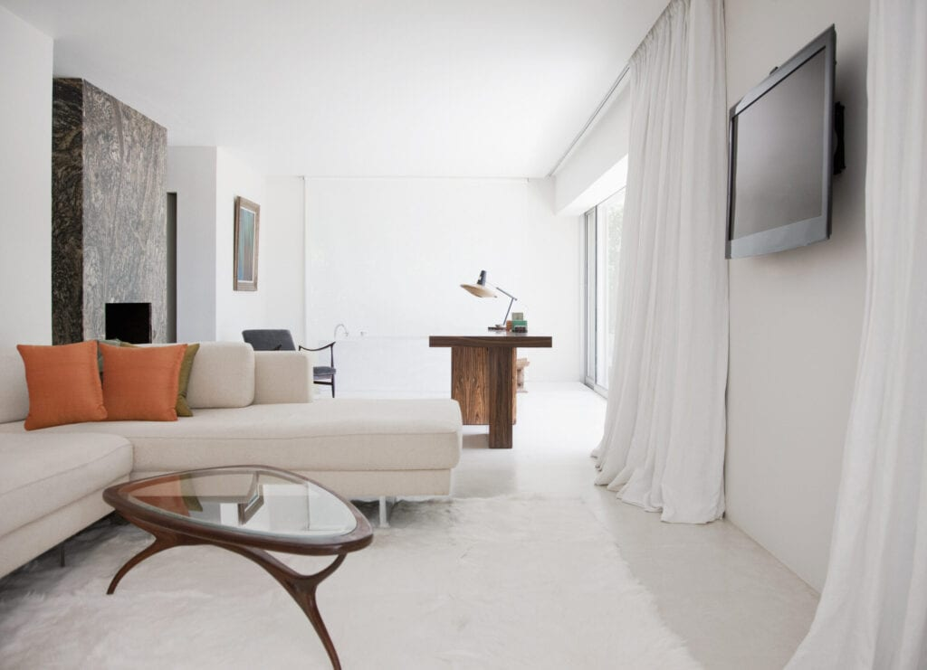 white curtains in modern living room