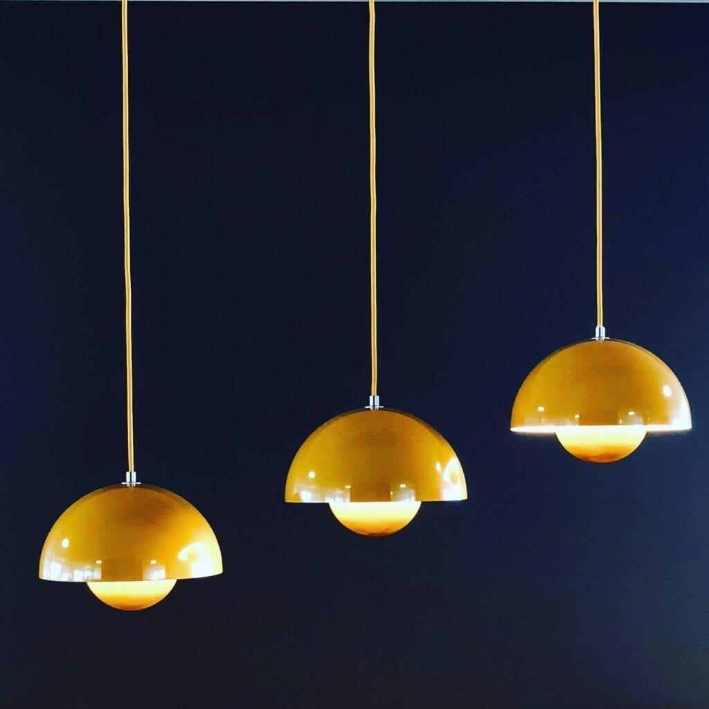 Mustard yellow pendant lights