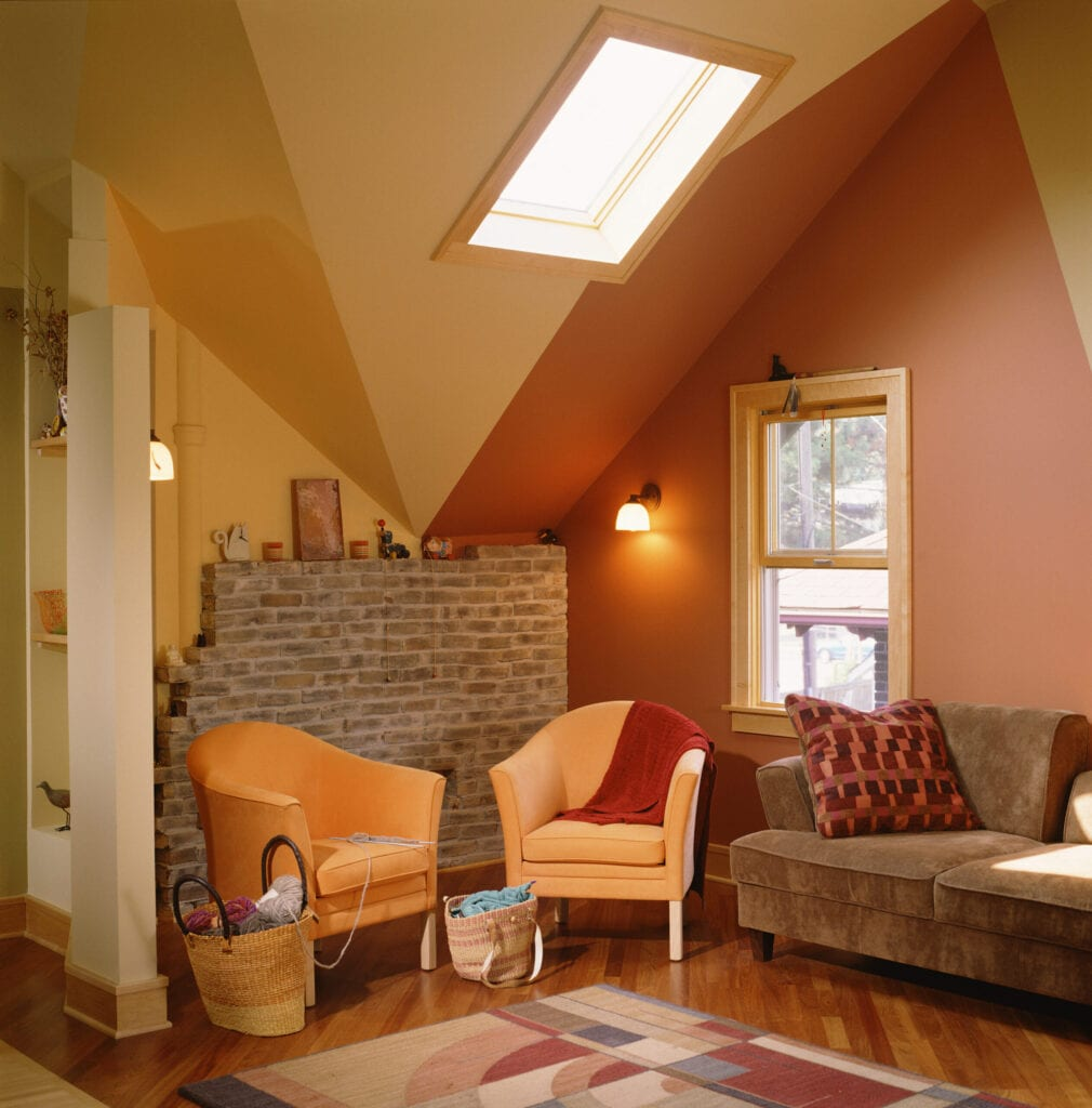 Bold Colors Emphasizing Finished Attic Ceiling