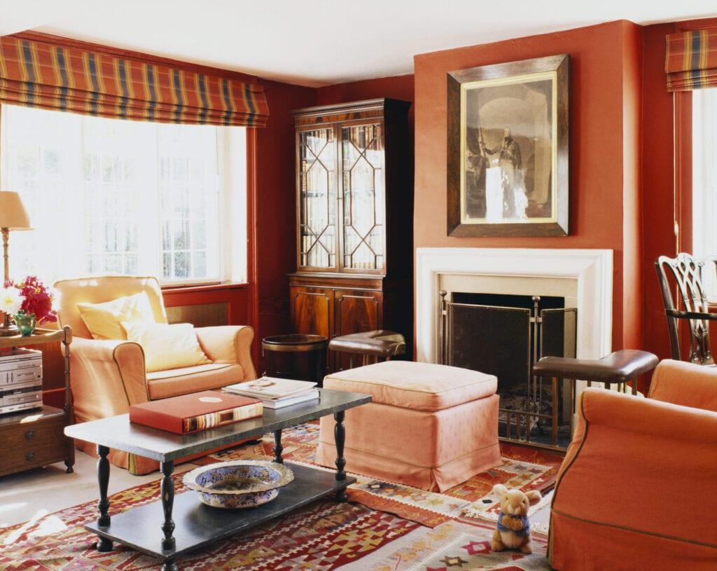 orange decor living room