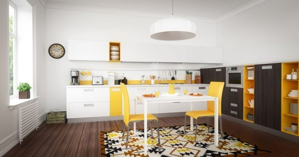 Kitchen with mustard yellow accents
