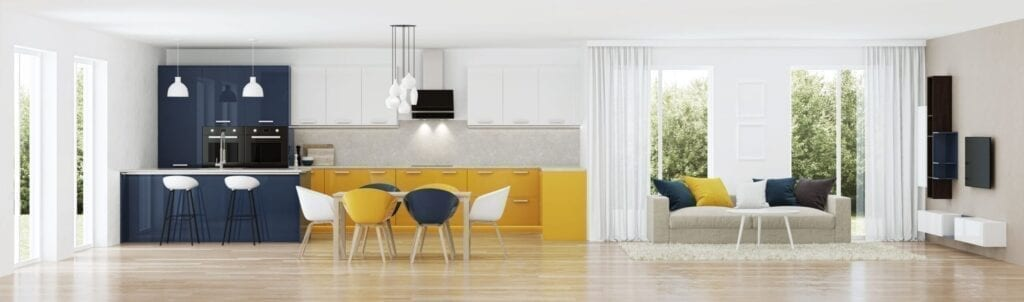 Mid century modern living room and kitchen with mustard yellow accents