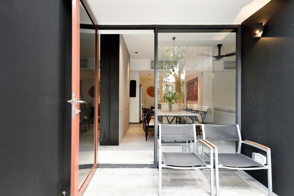 Open glass front door