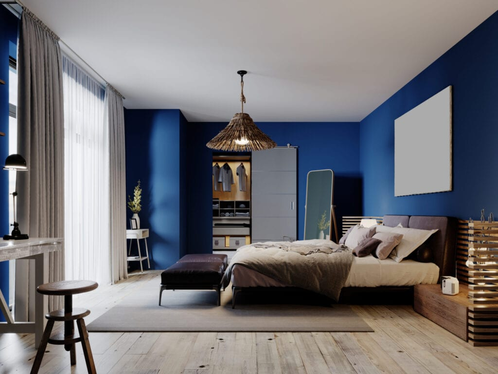 Fashionable modern loft style bedroom with blue walls and rustic furniture. 3D rendering.