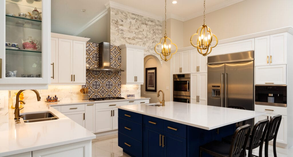 blue kitchen with gold accents