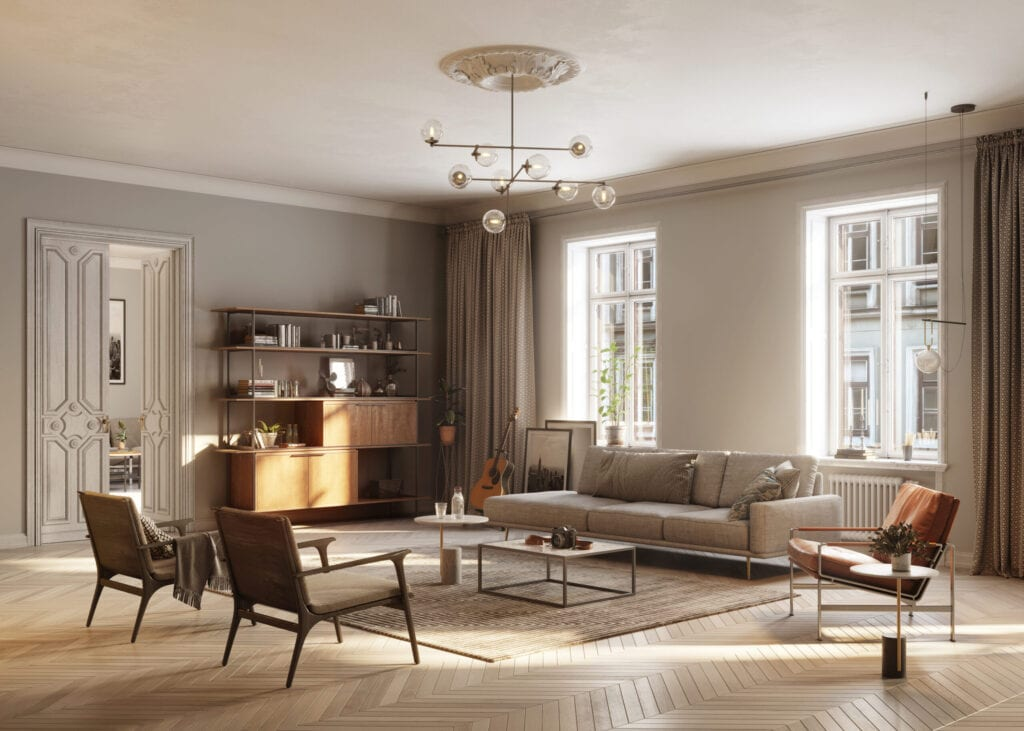 3D Rendering of large and full Furnished living Room.