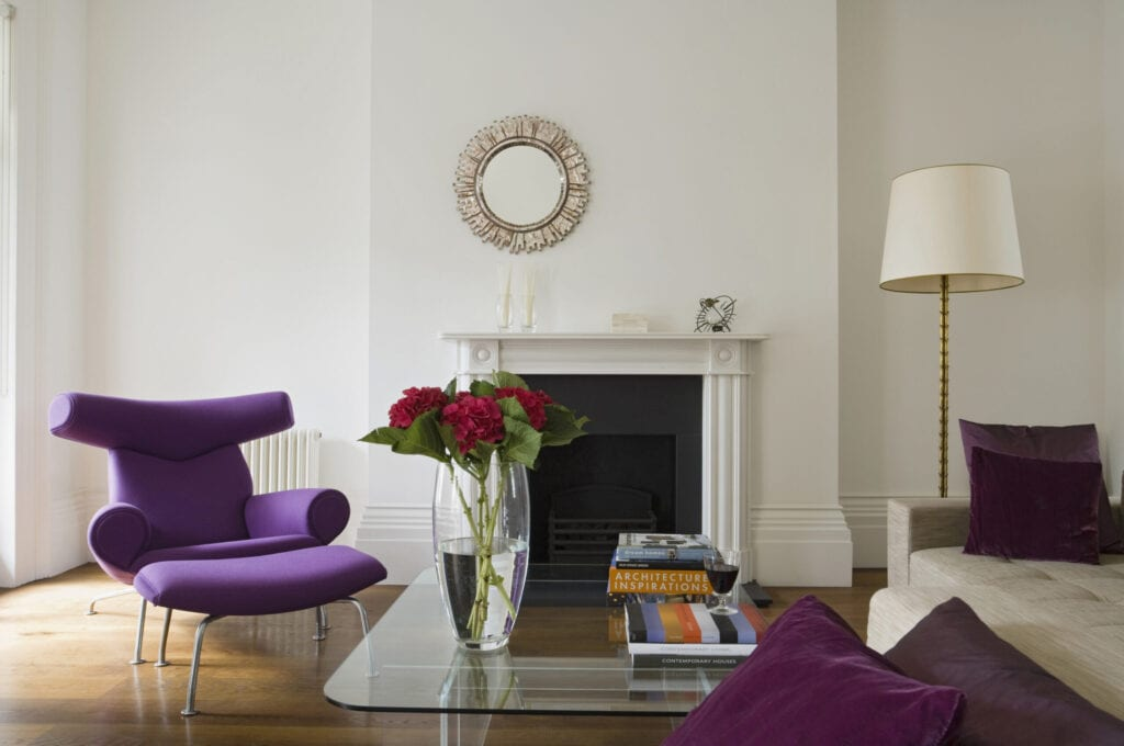 Renovation of Brighton Grade II listed building with continental 1940s furniture and contemporary designer pieces