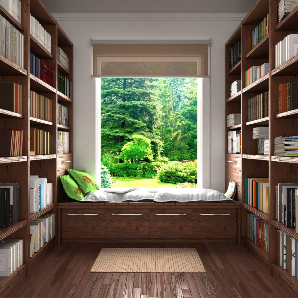 light and cozy home library