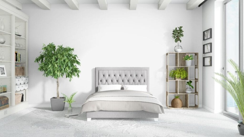 Bedroom filled with house plants