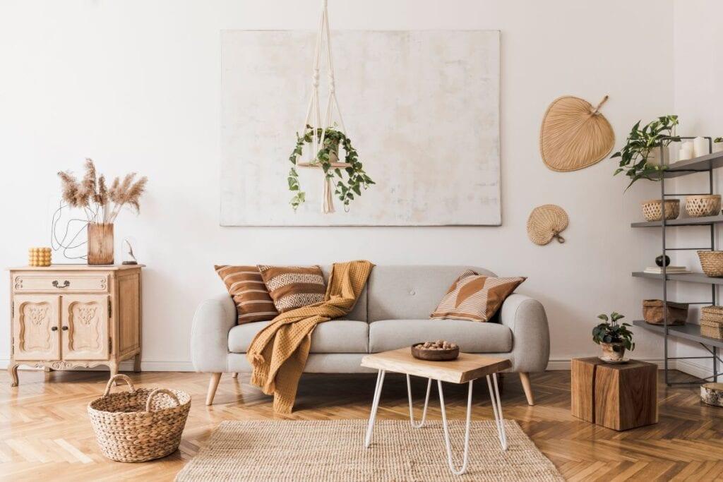 Boho living room with house plants