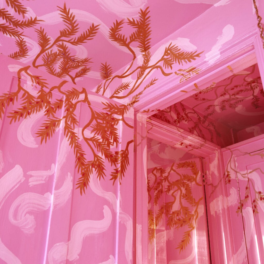 painted pink ceiling