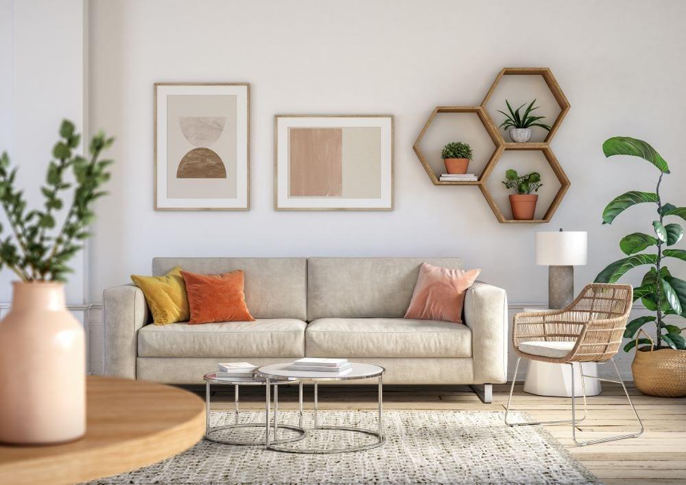 Modern bohemian style family room