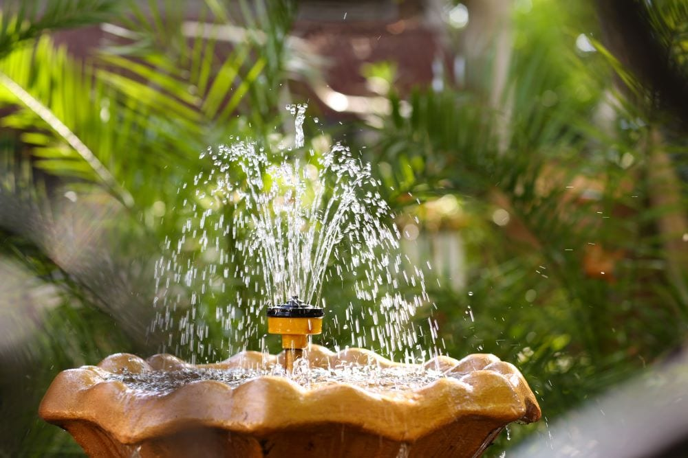 Garden fountain spraying water upwards