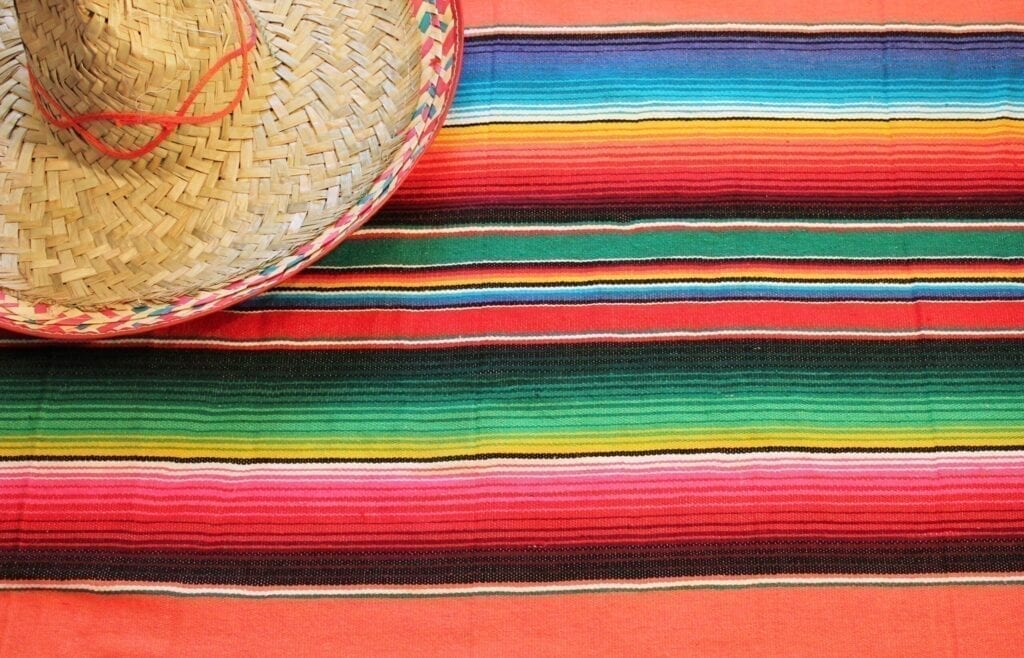 poncho sombrero background mexican mexico cinco de mayo fiesta copy space, stripe pattern