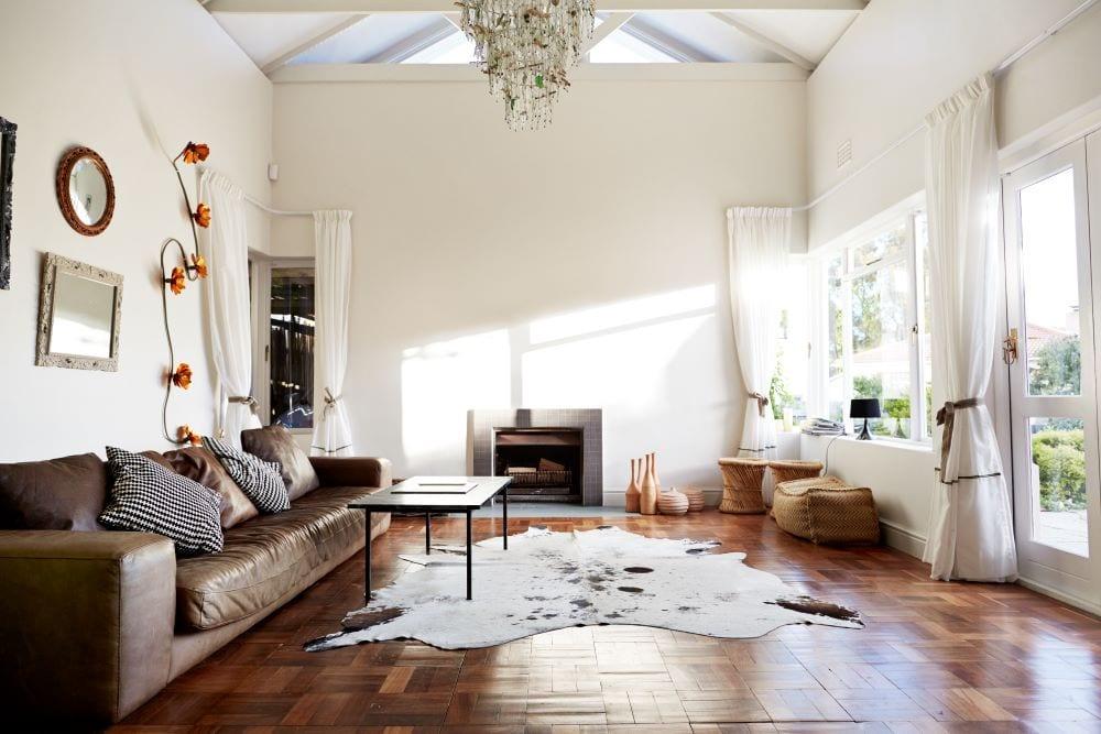 Rustic, modern, bohemian living room