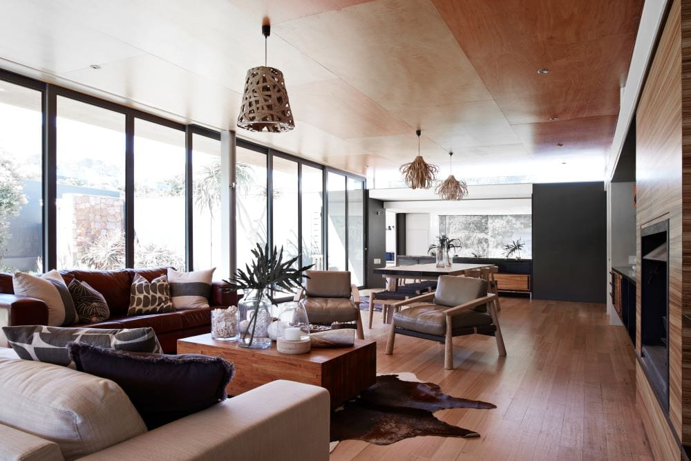Modern rustic style family room, luxury living room