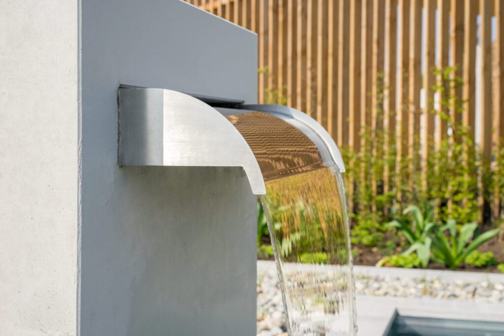 Garden water feature, modern waterfall